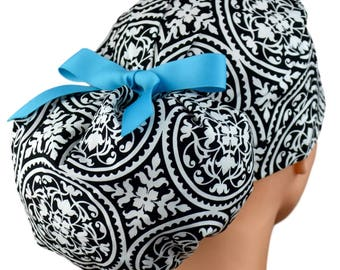 Ponytail Scrub Hats - Ironwork - Turquoise Ribbon