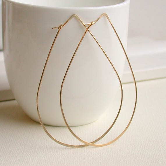 Extra Large Hammered Teardrop Hoops.