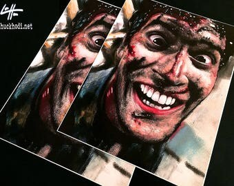 """Print 11x14"""" - Ash Williams - Bruce Campbell Army of Darkness Evil Dead Horror Dark Art Blood Comedy Necronomicon Spooky Cult Pop Gothic"""