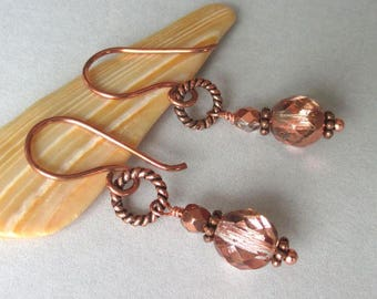 Copper Czech Glass Earrings