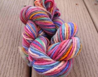 Handpainted Yarn Wool 59yards Worsted Weight Knitting Aspenmoonarts Hand Painted Purple Blue Gold Magenta C011D Felting