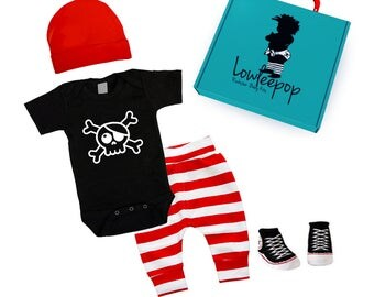 ROCKSTAR BABY KIT Pirate Skull black onesie, red striped pants, hat, booties & optional gift box