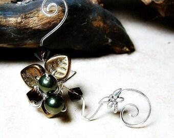 ON SALE Dragonfly Art Nouveau Ear Cuff, No Piercing, Fairy Jewelry, Fantasy Vine Wrap,No Piercing Nickel Free Ear Cuff Earrings