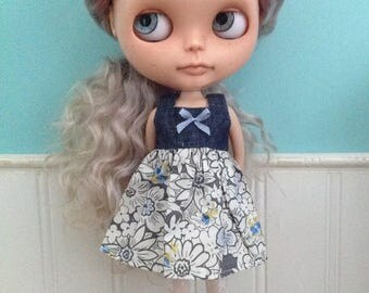 Dress for Blythe - Denim and Liberty Tana Lawn #2
