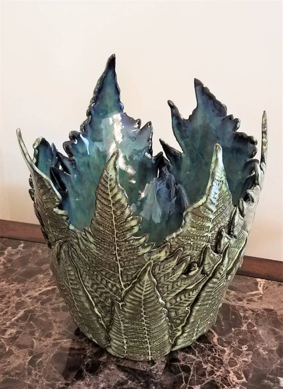 Fern Pottery - Dinning Room Centerpiece - Candle Holder - Nature Pottery - Centerpiece - Woodland Pottery - Leaf Pottery - Large Fern Vase