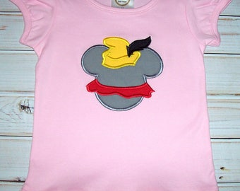 Sample SALE Dumbo Mickey Shape Applique Pink S/S Shirt Size 3T--Flying Elephant--Vacation