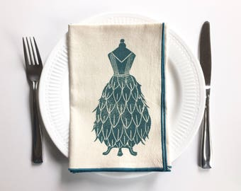 Dress Designs on Dress Form Handmade Block Printed Napkin Set of Four- Cotton Napkin Set- Rolled hem edge
