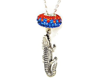 Necklace Gator Alligator Sterling Silver Orange Blue Florida Team Colors Austrian Crystal Bead Jewelry Pendant Charm 1842