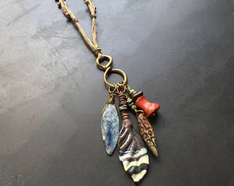 Handmade boho tribal rustic layering necklace by Lori Lochner bronze, kyanite, red branch coral and glass charm necklace artisan beaded jewe