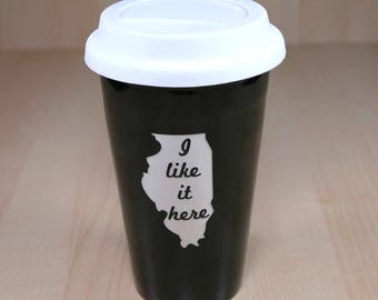 ILLINOIS travel mug - I like it here state map