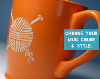 Knitting Yarn Mug - Choose Your Cup Color