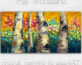 "Sale Tree Painting Changing Season Woodland Modern Art  Original 48"" landscape painting acrylic painting on canvas by tim lam"