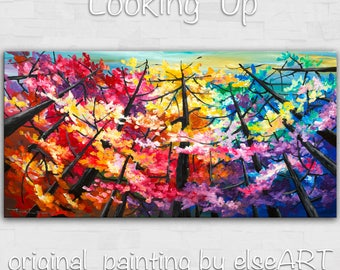 Sale Looking Up tree painting Changing Season Aspen art large abstract art wall art gallery art modern art canvas art by Tim Lam 48x24