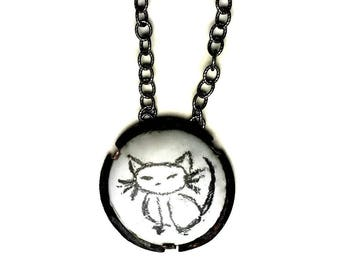 Enameled Ring,Pussy Cat Ring,Cat Pin,Cat Necklace,ACLU,Cat Ring,Planned Parenhood,Resist,Black and White Cat,Proceeds Donated,Minimalist Cat
