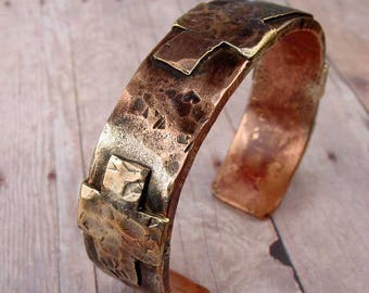 ANCIENT CROSS - OOAK One Of A Kind - Hefty Copper Cuff with Three Bronze Crosses