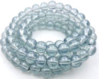 50 Translucent Blue-Gray Shimmer Glass Beads 8mm (H2567)