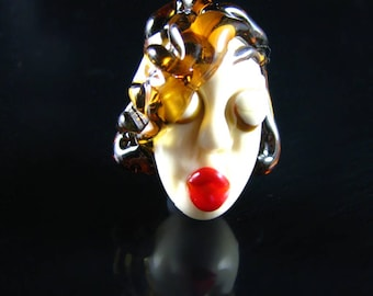 The Amber Haired Beauty...Handmade Lampwork Focal Head Bead...Ladies of the Flame.. SRA