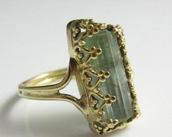 SUMMER SALE The Lakeside Ring - Organic Tourmaline Crystal in 14k Solid Gold
