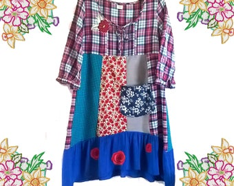 Cute Patchwork Plaid Cotton Shirt Prairie Dress. Upcycled Clothing. Red and Blue, Big Pocket and Rose Detail. Size Medium.