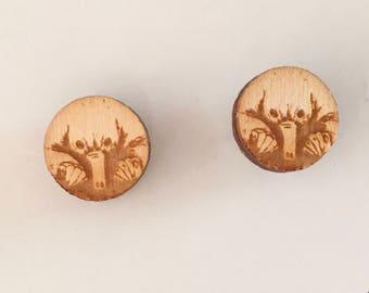 Echidna Earrings Wearable Art - Australian Animal Art Puggle Stud Earrings