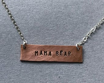 Mama Bear Hand-stamped Copper Necklace