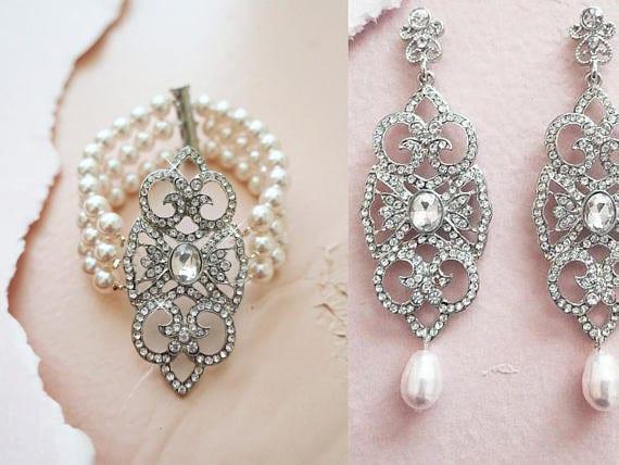 bridal pearl bracelet, crystal bridal earrings, Gatsby jewelry
