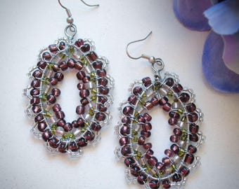 Purple, Green and  Silver Beaded Earrings