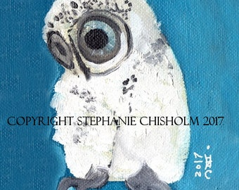 White Night. Owl Art Print. Awesome Owl Art. Art Print. Sapphire Blue. Owl Portrait. Barn Owl. Amazing Owl Art. Poster
