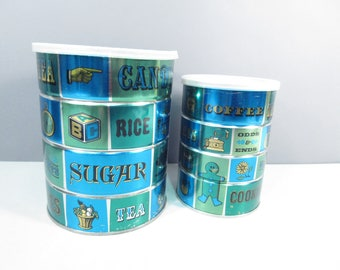 Vintage MJB coffee cans, blue green coffee cans, tea and cookie design, decorative tin coffee cans, odds and ends design