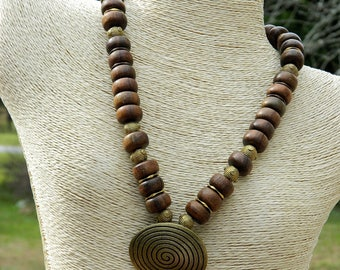 African Inspired Robles Wood Bead Necklace