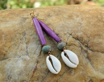 Cowrie Shell and Batik Bone Bead Earrings