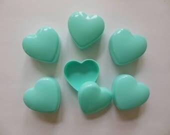 Aqua Heart Favor Boxes - Plastic - Set of 6