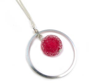 Raspberry and silver Crystal pendant