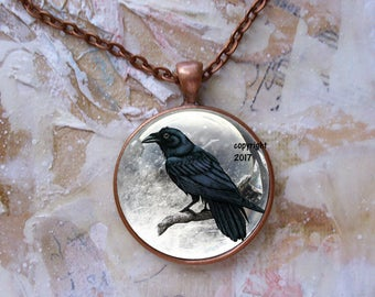 The Raven, original art pendants,Ready To Ship in a  gift box, available in copper or silver finish...raven, crow,gothic, Edgar Allen Poe
