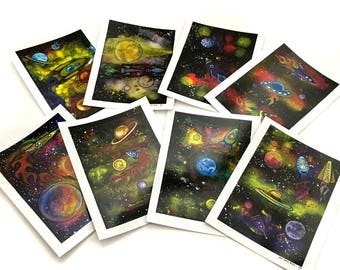 Set of Eight Space Art Sticker Pack by Surly Amy Davis Roth