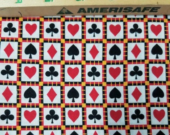 Fabric Alice Deck of Cards Toss cotton Bridge Poker Card Game 1.5 yard SALE