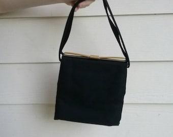 Vintage 50s black wool purse / retro handbag / mid century / Mad Men / rockabilly / pin up