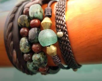Jayla Leather Bracelet, Leather Cord Bracelet, Adjustable Leather Stacking Bracelet, African Glass Aquamarine Charcoal Beads, Silver Brass