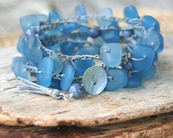 Boho Bracelet, Bracelet Wrap, Wrap Bracelet, Crocheted Bracelet, Crocheted Bracelet Wrap, Blue Bracelet, Cultured Beach Glass Bracelet