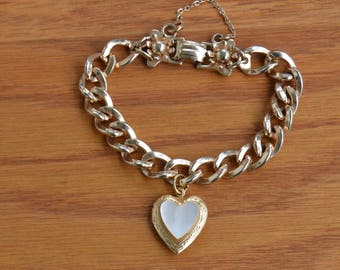Barclay Bracelet, 1/20 12 K Gold Filled Mother of Pearl Heart Locket,VTG,Chunky 50's Valentines day, Sweetheart,add a pic Friend,Lover,Pet