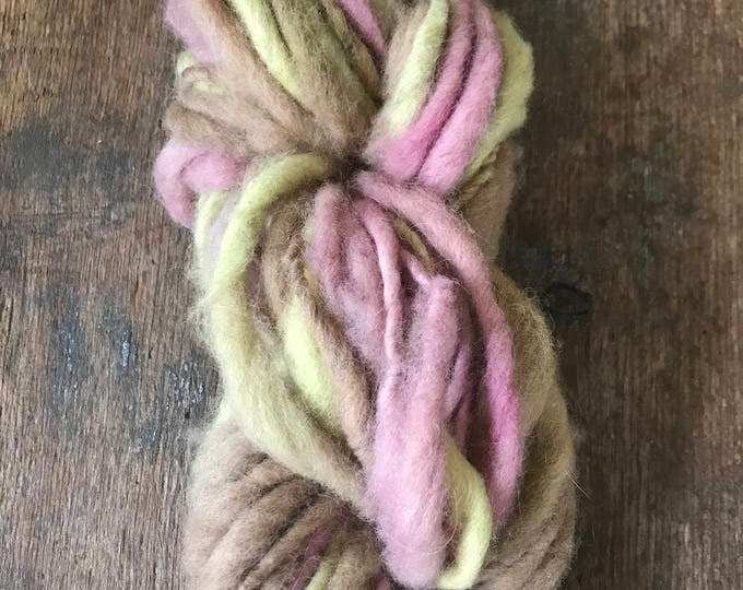 Tricolor Neopolitan naturally dyed, handspun local wool yarn, 60 yards single ply bulky weight, pink yellow and tan yarn