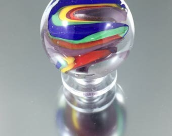 rainbow swirl lampwork marble, coloured glass marble, Italian glass marble, julie vanember glass,