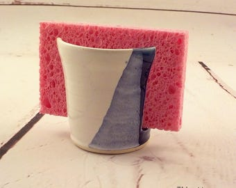 Kitchen Sponge Holder - Ceramic Sponge Drying Bowl - Stoneware Bathroom Cup Caddy - Handmade - Ready to Ship - Royal Blue and White h460