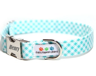Plaid Dog Collar, Personalized Dog Collar optional, Aqua Bias Check (shown with optional engraving)