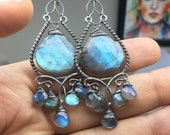Custom Listing for N.  Labradorite Chandelier Earrings