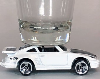 The ORIGINAL Hot Shot, Classic Hot Rods, Shot Glass, White Porsche 930, Hot Wheel car