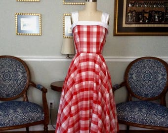 The Picnic Dress big red gingham 1950's retro made to order