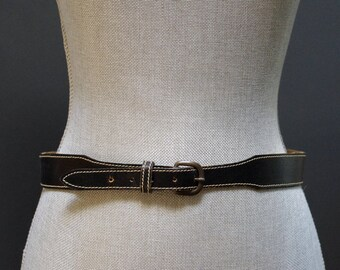 Vintage Black Leather Belt, Contrast Stitch Black Leather Waist Belt, Black Waist Belt, Equestrian Belt, Black Leather Belt, Minimal