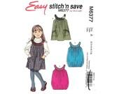 Toddler Girls Sleeveless Pullover Jumper Dress 2 to 8 Sewing Pattern McCalls M6377