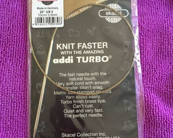 "US size 2, 20"" Addi Turbo circular knitting needle"